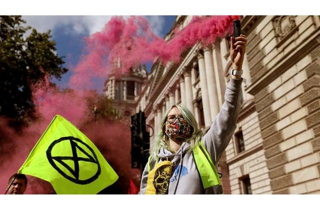 XR Southsea member Selma Heimedinger at a London protest in September