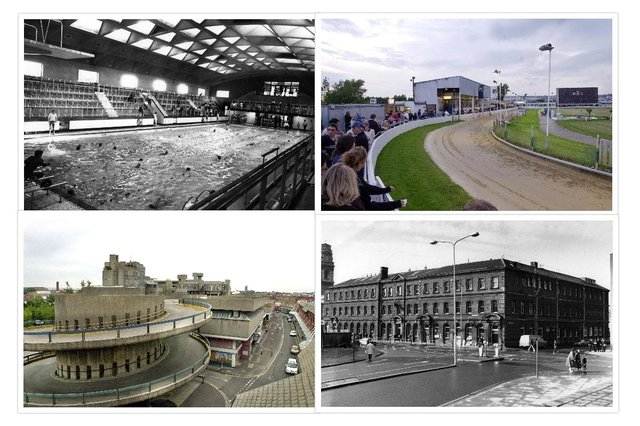 A collage of four of the buildings readers said they want back. From top-left, the Victoria Swimming Baths and Portsmouth Stadium. From bottom-left, the Tricorn and the General Post Office building.