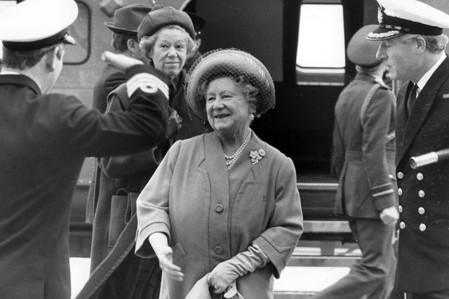 The Queen Mother during a visit to HMS Ark Royal in December 1986. Picture: The News PP1585