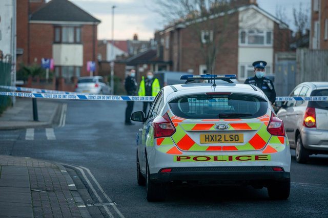 Police in Cornwall Road, Fratton in Portsmouth, on January 22, 2021, after an incident. Picture: Habibur Rahman