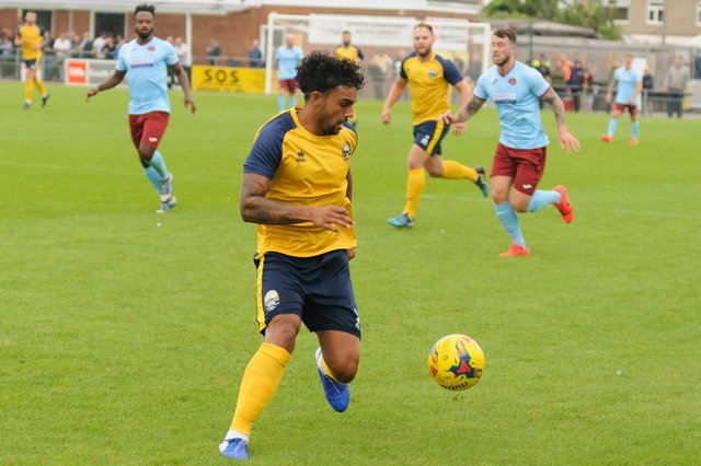 Theo Lewis in action for Gosport Borough. Picture: Duncan Shepherd
