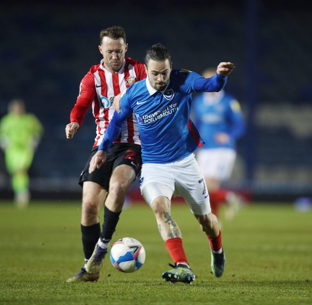 Pompey's Ryan Williams was adamant he was fouled by Aiden McGeady moments before Sunderland's second goal in their 2-0 win at Fratton Park. Picture: Joe Pepler