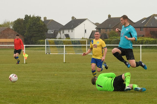Jack Palmer scores for Burrfields against Meon Milton. Picture: Keith Woodland
