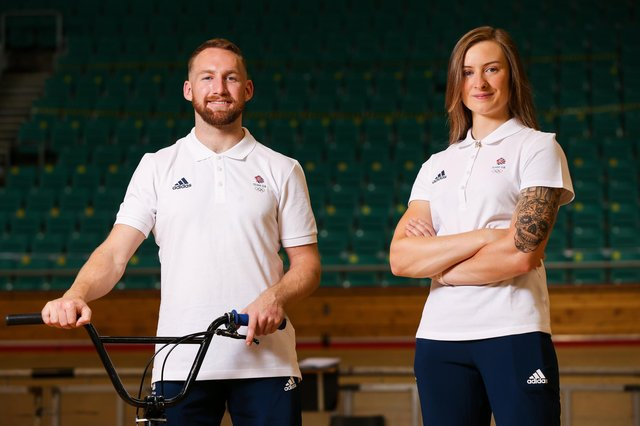 Declan Brooks and Charlotte Worthington will represent Team GB in the BMX freestyle park discipline in Tokyo. Photo by Barrington Coombs/Getty Images for British Olympic Association.