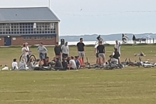 Huge groups of people gather on Southsea Common, breaking strict lockdown measures in place to prevent the spread of the coronavirus.
