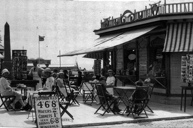 Ice creams for less than a shilling. There was a time when a cornet cost 1d and a wafer 2d. This was Clarence Esplanade, Southsea before the Second World War.