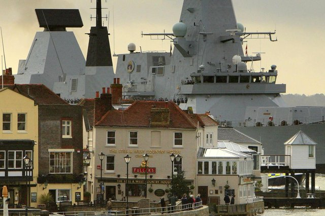 HMS Dauntless, then the Royal Navy's newest warship enters Portsmouth for the first time on December 2, 2009. The Type-45 destroyer was launched in January 2007 from Govan shipyard in Glasgow. Picture: Chris Ison/PA Wire.