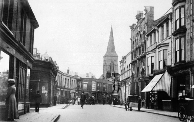 An Edwardian Southsea scene looking west along Marmion Road from Victoria Road South. First left is Lennox Road North. Undated