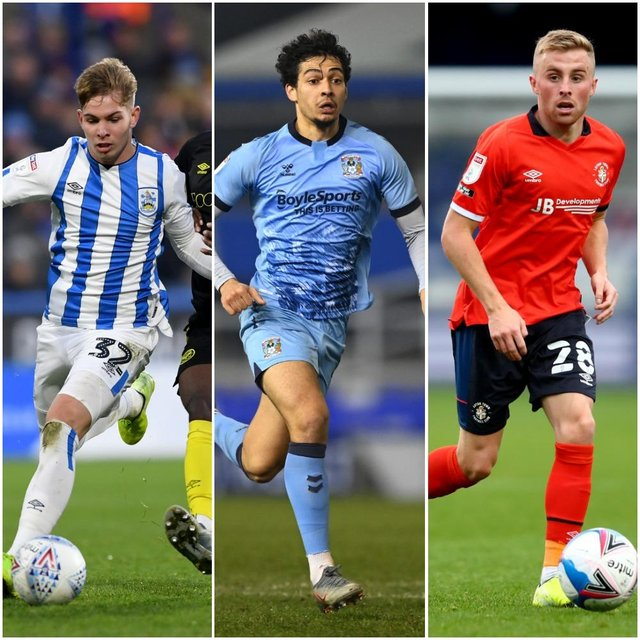 Danny Cowley's former loans, from left, Emile Smith Rowe, Tyler Walker and Joe Morrell.