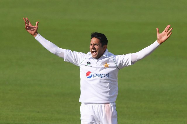 Mohammad Abbas successfully appeals for the wicket of Zak Crawley during a Test match at Hampshire's Ageas Bowl last  August . Photo by Stu Forster/Getty Images.