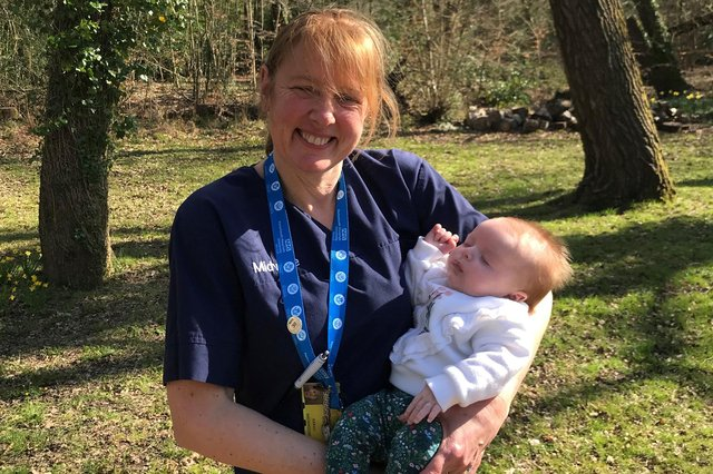 Midwife Sarah Backhouse Fitton is running the London Marathon for Portsmouth Hospitals Charity. Pictured: Sarah, who has  had a 35-year career in the NHS