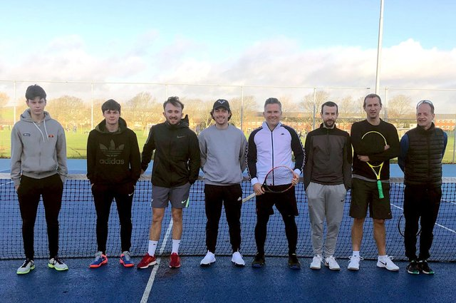Wilson Neaves, second left, John Taylor, third left, and Macca Neaves, fourth left, made up part of a strong Portsmouth Tennis Centre team who defeated Canoe Lake