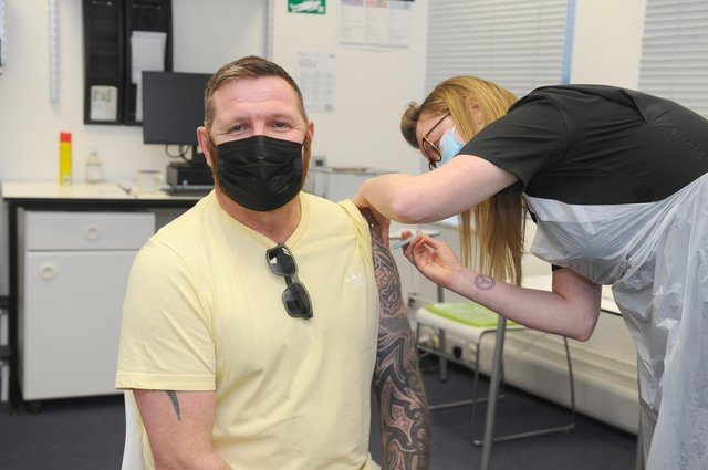 Dean Fitzgerald, 47, from Hilsea at Lalys Pharmacy in Guildhall Walk, Portsmouth. Picture: Sarah Standing (220421-7039)