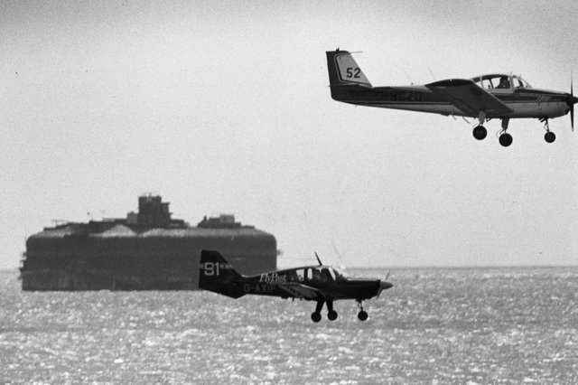 A plane taking part in the Schneider Air Race over the Solent in May 1988. Picture: PP1685