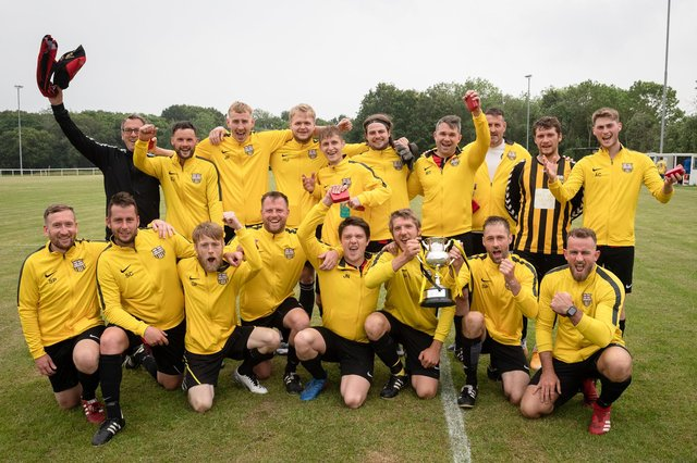 Fareham United celebrate being crowned Gosport War Memorial Cup champions. Picture: Keith Woodland (270621-715)