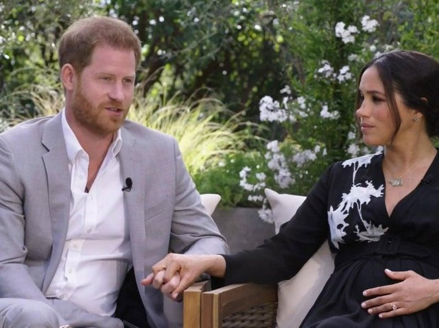 Screen grab photo supplied by ITV Hub courtesy of Harpo Productions/CBS showing the Duke and Duchess of Sussex during their interview with Oprah Winfrey which was broadcast in the US on March 7 and in the UK on March 8. Issue date: Monday March 8, 2021.