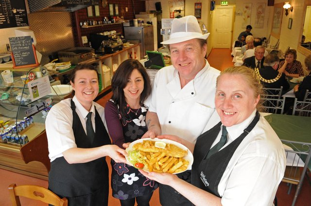 2011. Whistlers Fish and Chip shop in West Fareham. (left to right) Lindsey Arnott (30), Rana Hammami (37), Bill Bishop (49) and Sandra Bishop (42). Picture: Malcolm Wells 110911-5644