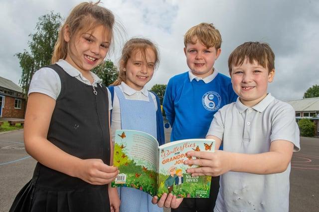 Left to right: Imogen Barnes, eight, Isla Ballard-Spooner, eight, Mason Smith, eight, and Noah Malley, eight, of Bedenham Primary School, Gosport,