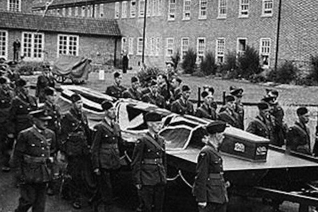 The funeral cortege for the three German airmen shot down over Rowlands Castle. Picture: Trevor Dalgleish collection