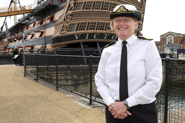 Cdre Jude Terry OBE in front of HMS Victory. Picture: LPhot Ben Corbett/Royal Navy