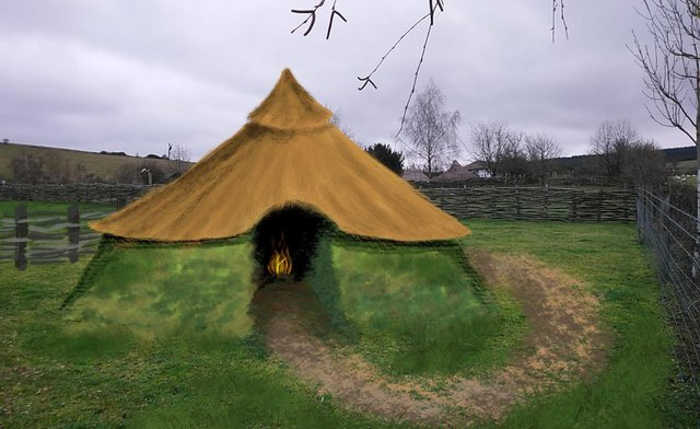 An artist's impression of what the new roundhouse at Butser Ancient Farm will look like.
