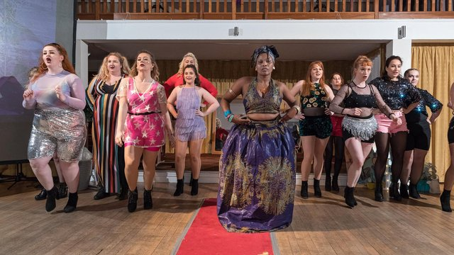 The first-ever Pamodzi Inspirational Women of Portsmouth Awards took place on Thursday, March 7, 2019 at the Royal Maritime Club in Queen Street, Portsmouth.  Pictured is organiser Roni Edwards performing with The Neptune Girls