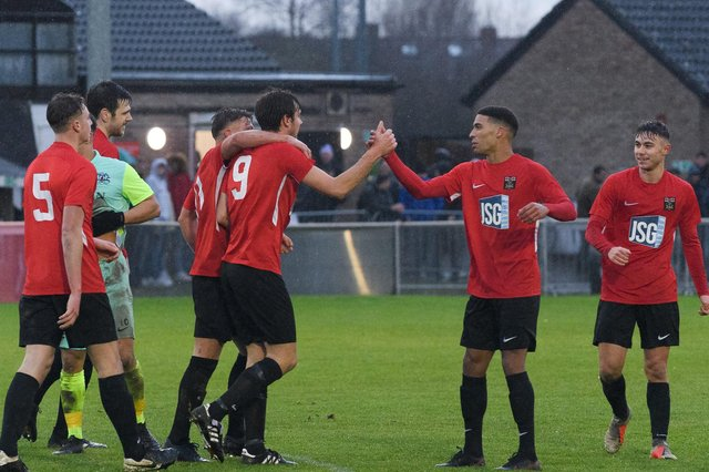 Fareham Town celebrate a goal in the FA Vase first-round triumph against Roman Glass St George. Picture: Keith Woodland (051220-415)