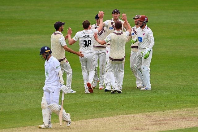 Craig Overton celebrates after taking a catch to dismiss Felix Organ at The Ageas Bowl today. Photo by Dan Mullan/Getty Images.