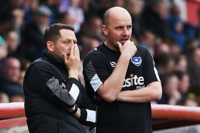 Former Pompey boss Paul Cook, right, and Leam Richardson were in opposite dugouts for Ipswich's draw with Wigan. Picture: Joe Pepler