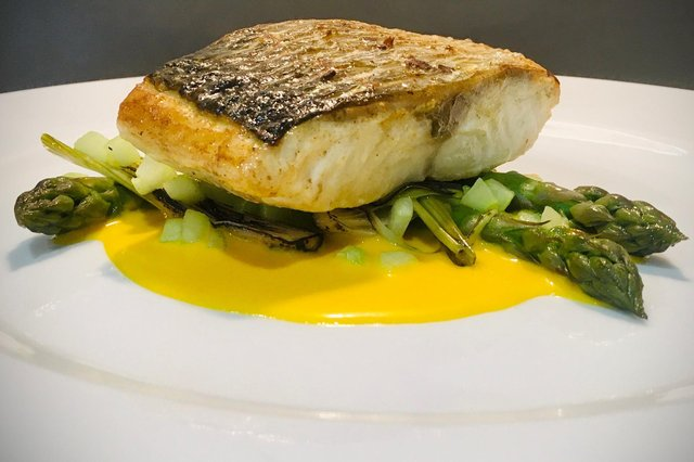 Sea bass with saffron orange sauce, by Lawrence Murphy