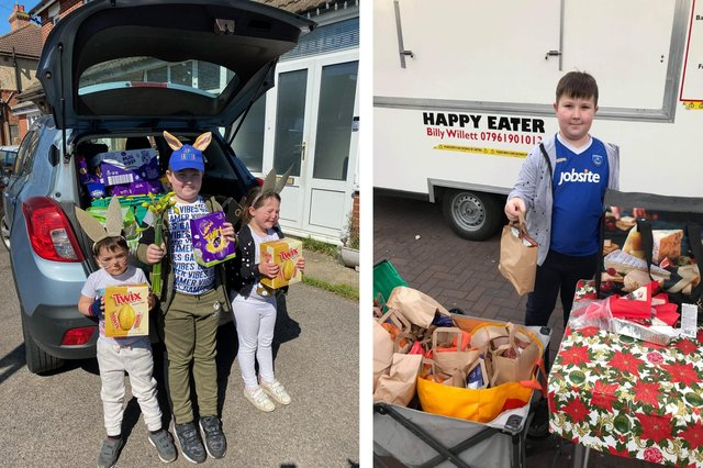 Albie Leahy, 9, Imogen Hale, 5 and Joshua Hale, 3, delivering Easter eggs to homeless people and care homes and, right, Albie giving out lunches to the homeless