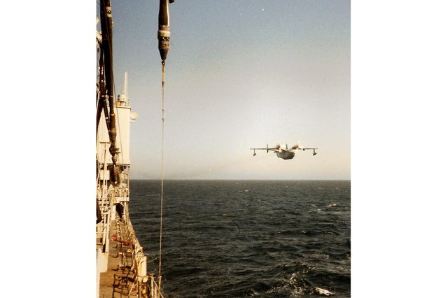 RFA Olna being shadowed by a Soviet plane in the Mediterranean in the mid-1980s. Picture: Andrew August.