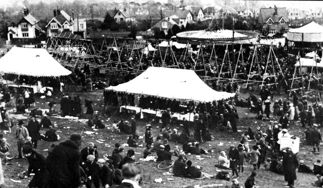 The fairground on the slopes of Portsdown Hill 1930.  It was located to the west of the old A3.