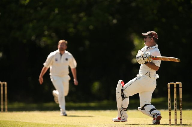 Matt Darby hits out on his way to 90 for Rowners 2nds. Picture: Chris Moorhouse