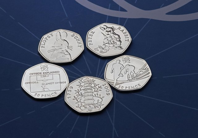 Five of the rarest 50p coins. Picture: Royal Mint/PA Wire