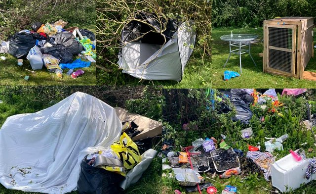 It has cost Portsmouth City Council more than £1,000 to clear a large amount of rubbish left strewn all across a Port Solent field where a traveller encampment was set up last week. Picture: Tony Hewitt