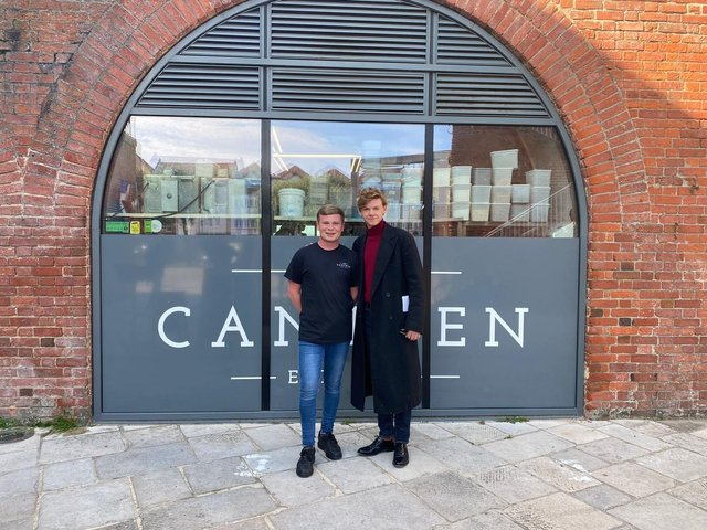 Thomas McCaffery (left) with actor Thomas Brodie-Sangster in Old Portsmouth on September 12