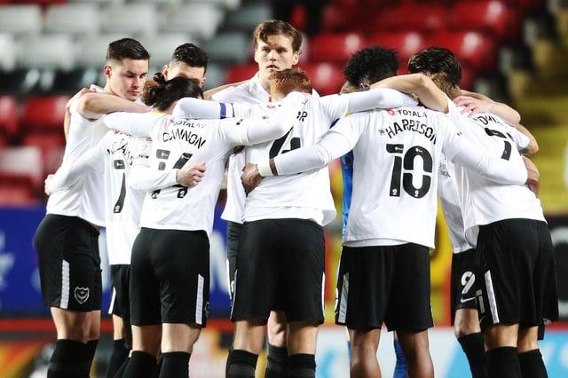 Pompey players huddle. Picture: Joe Pepler