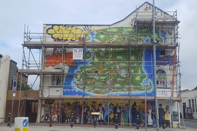 The Strand mural in Southsea was vandalised by graffiti artists who damaged the longstanding artwork by Mark Lewis. Picture: Mark Lewis