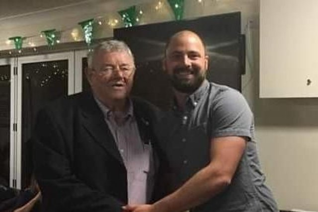 Brian Knapp, left, pictured with Sarisbury Athletic CC skipper Ricky Rawlins.