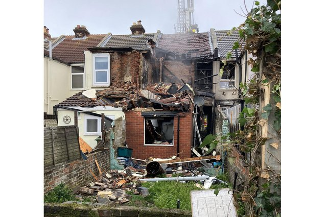 Pictures of the aftermath of a suspected gas explosion at a house in Whale Island Way in Portsmouth. Picture: Portchester fire station/Twitter