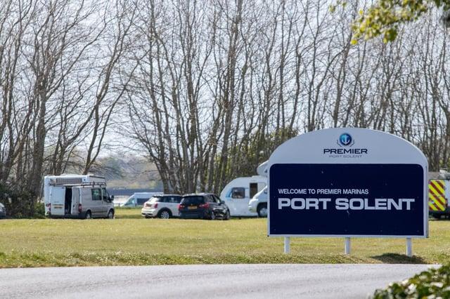 Travellers set up camp on field opposite Port Solent car park on 27 April 2021