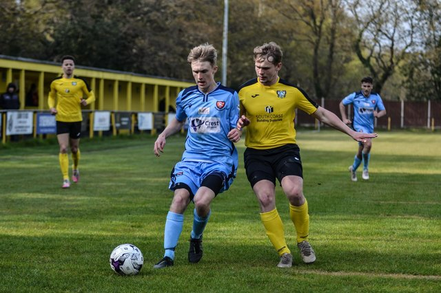 Harvey Aston (blue) got some first team experience for AFC Portchester during their Hampshire Invitational Cup campaign. Picture: Daniel Haswell.