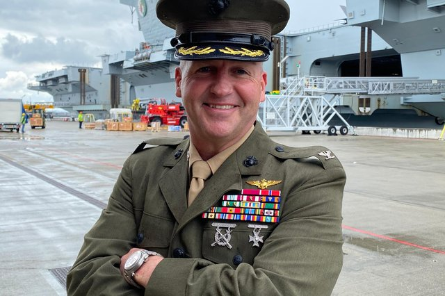 Colonel Simon Doran, the senior American military official serving with the US Marine Corps on board HMS Queen Elizabeth during her carrier strike deployment. Photo: Tom Cotterill