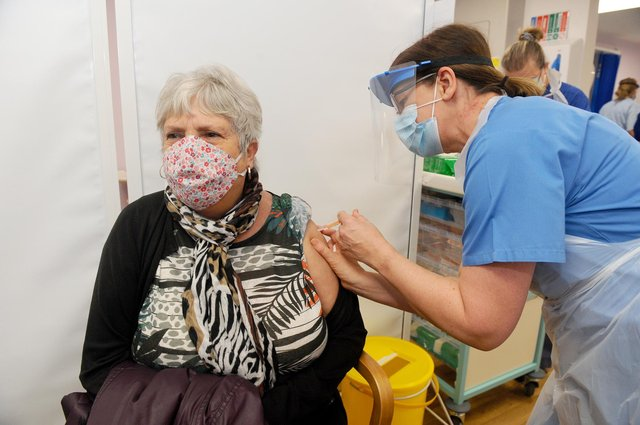 The Portsmouth NHS Covid-19 Vaccination Centre at Hamble House based at St James Hospital when it opened on Monday, February 1.  Pictured is: Anne Johnston (73) from Gosport.  Picture: Sarah Standing (010221-1984)