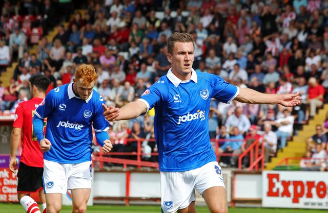 Jed Wallace would make 121 appearances and score 30 times for Pompey after plucked from non-league Lewes. Picture: Joe Pepler