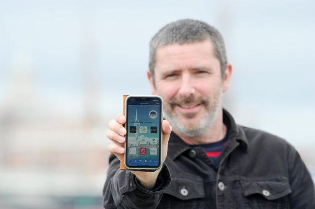 Peter Hopkinson, owner of About My Area has launched an app called Island City Living.Picture: Sarah Standing (250321-2673)