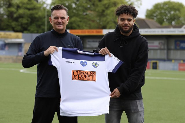 New Hawks signing Josh Passley, right, with manager Paul Doswell. Picture: Kieron Louloudis