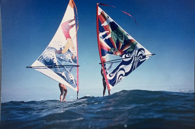 Lisa Furlong painted more than half a dozen windsurfing sails to sell and fund her passion. Picture: Jamie Furlong