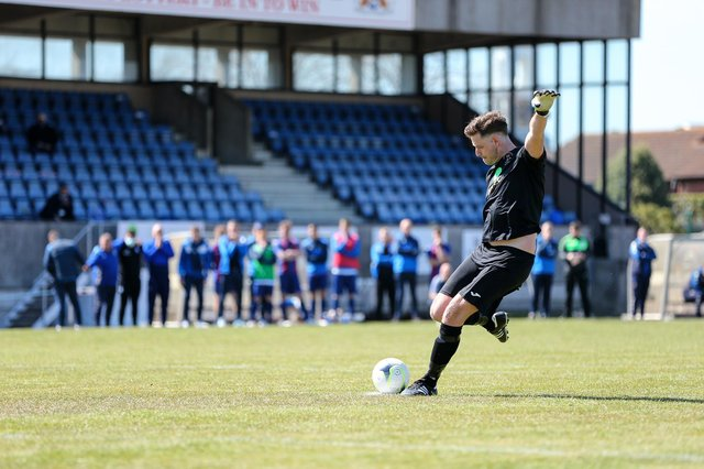 Tom Price about to 'shank' his penalty in the FA Vase shoot-out against Christchurch. Picture: Chris Moorhouse
